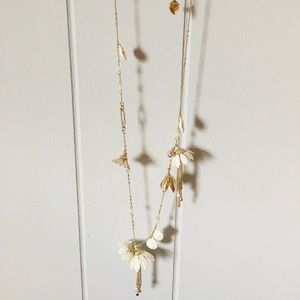 Betsey Johnson Long Necklace with White Flowers
